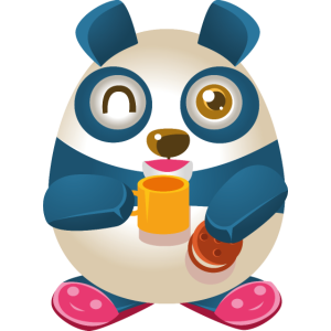 Panda mit Kaffee und Keks