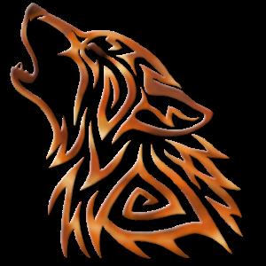 Stammes-Wolf heult Kupferflamme