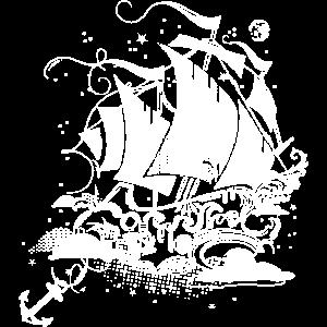 Segelschiff über den Wolken