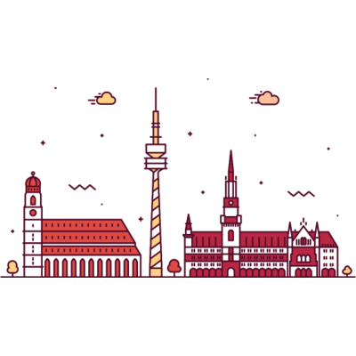 München, Deutschland -  - freedesigns17,coole,Wolkenkratzer,Urban,Trip,Tower,Stadtbild,Stadt,Reise,Panorama,Nation,München,Metropole,Länder,Karte,Horizont,Hochhaus,Hipster,Europa,Deutschland,Comic,Blick,Architektur