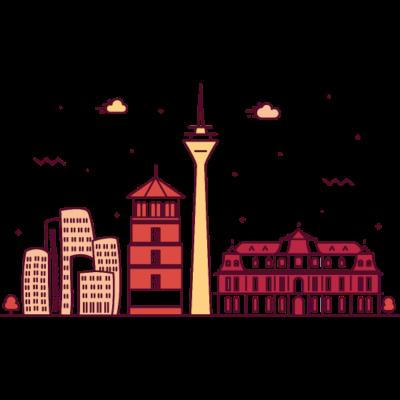 Düsseldorf, Deutschland -  - freedesigns17,coole,Wolkenkratzer,Urban,Trip,Tower,Stadtbild,Stadt,Reise,Panorama,Nation,Metropole,Länder,Karte,Horizont,Hochhaus,Hipster,Europa,Deutschland,Comic,Blick,Architektur