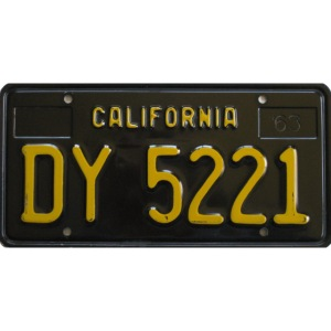 CALIFORNIA BLACK LICENCE PLATE