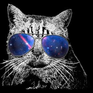 Katzenliebe > Katze mit Sonnenbrille + Galaxie