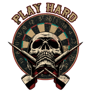 Play Hard Skull - Dart T-Shirts RAHMENLOS - Sport Club Verein Geschenk