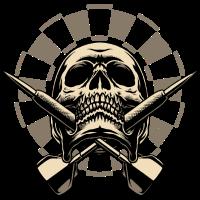 Dart Skull 2 - Dart T-Shirts RAHMENLOS - Sport Club Verein Geschenk