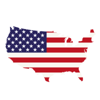 Vereinigte Staaten von Amerika Karte mit Flagge amerikanischen Handel