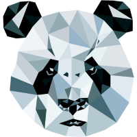 Panda Kopf 3D Polygon Comic