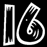 Zahl 16 Sechzehn Sixteen Holzoptik HATRIK DESIGN