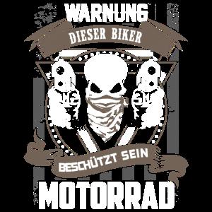 Warnung - Biker schützt Motorrad - DE