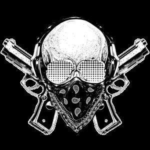 Gangster Skull Badass - Totenkopf Hip Hop Rap Swag