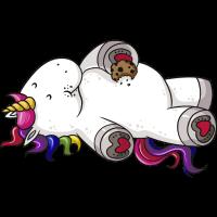Mampfendes Comic Einhorn Regenbogen