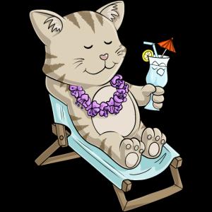 Sonnenbadende Comic Katze