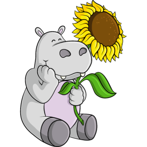 Sonnenblumen Nilpferd Comic