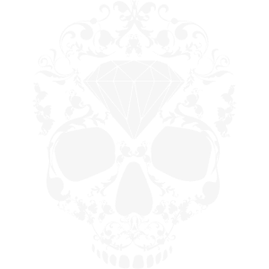 Skull Skullhead Floral Diamond Hipster Swag White