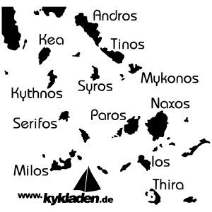 Kykladen Griechenland  Sweat T Shirt Karte