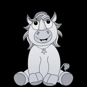 Lachendes sitzendes Nashorn Einhorn in grau