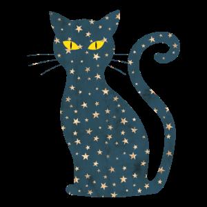midnight cat - Mitternachts Katze Sterne Mond