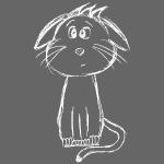 Katze Cat white scribblesirii