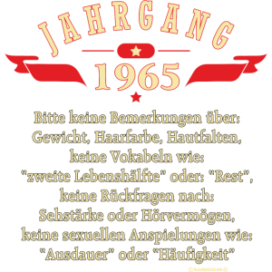 Geburtstag Jahrgang Birthday Year 1965