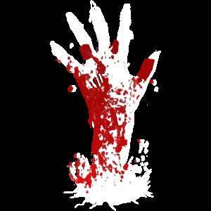 Zombie Hand Blut Halloween Horror Friedhof Monster