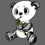 Oso panda coloreado scribblesirii