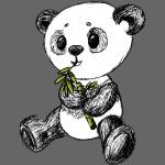 Panda beer gekleurd scribblesirii