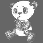 Panda ponosi białe scribblesirii