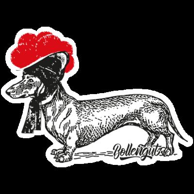 Dackel mit Bollenhut - Illustration eines Dackels mit Schwarzwälder Bollenhut - wald,vintage,triberg,tradition,tracht,tier,schönwald,schwarzwälder,schonach,hut,hund,hund,hornberg,heimat,gutach,furtwangen,freiburg,forest,dackel,bollenhut,bollengut,bollen,blackforest,Schwarzwald