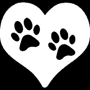 Herz Pfoten Tiere Liebe Tierliebe Hund Katze white