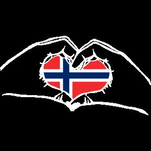 Ich liebe Norwegen - Herz Hände