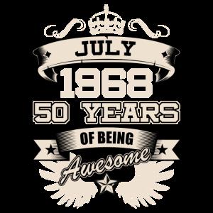July 1968 Geburtstag 50 Geschenk Idee Love T-Shirt