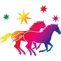 Regenbogen Pferde
