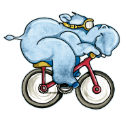 The Hippo rides a bike