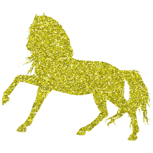 Golden Horse - Goldenes Pferd Gold Glitzer Glitter