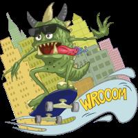 Monster & Skateboard