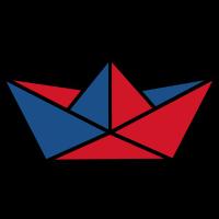 Papierschiffchen rot und blau