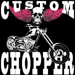 Motorrad, Chopper, Custom Bike, Totenkopf, t-shirt