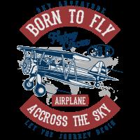 SKY ADVENTURE - Vintage - Retro Flugzeug Shirt