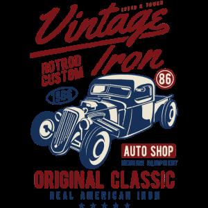 VINTAGE IRON HOTROD - Auto Vintage Shirt Motiv