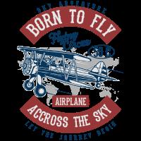 BORN TO FLY - Vintage Airplane Flugzeug Shirt