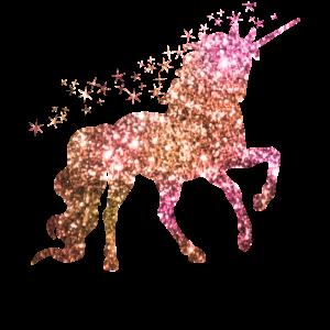 Das gold glitzernde springende Einhorn