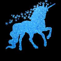 Das blaue glitzer Einhorn