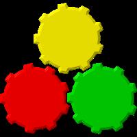 Zahnräder rot, gelb, grün