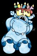 Motif Anniversaire hippopotame