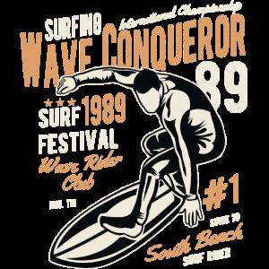 WAVE CONQUEROR - Retro Surf Surfing & Surfer Shirt