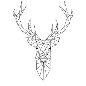 Hirschkopf mit Geweih im Triangel-Design