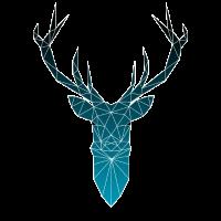 Hirsch blau im Triangel-Design