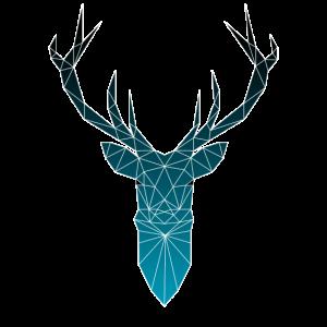 Hirschkopf im Triangel-Design (dunkelblau)