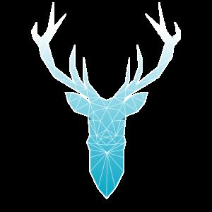 Hirschkopf im Triangel-Design (hellblau)