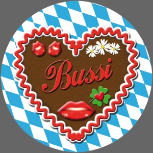 Lebkuchenherz Bussi Bayern Button